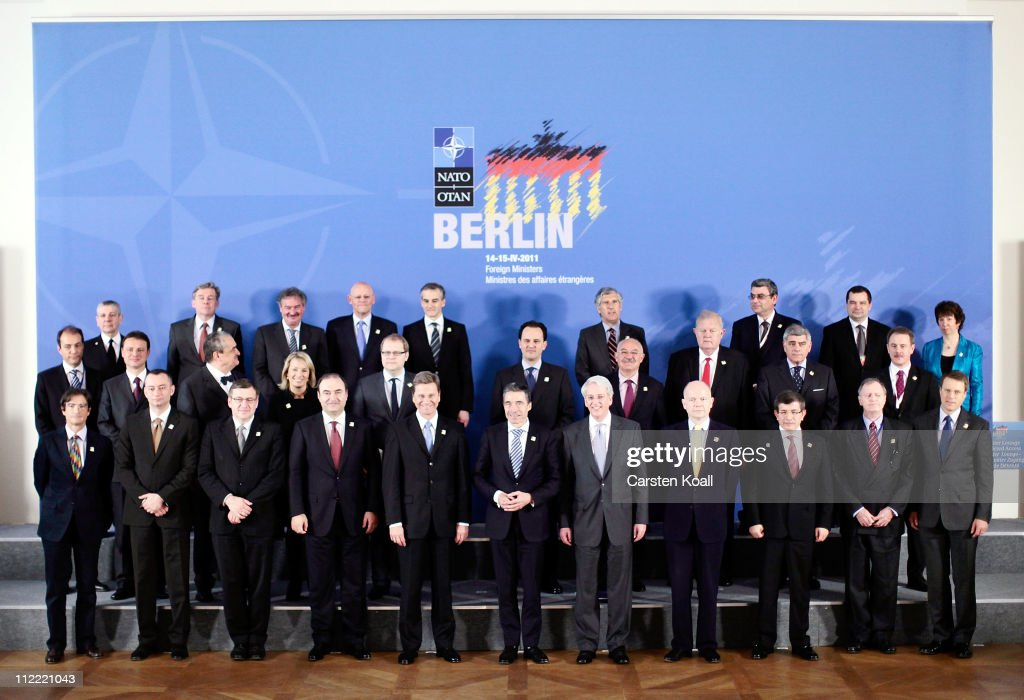 NATO countries Foreign Ministers and representatives gather for a group photo at an informal meeting of NATO member foreign ministers on April 15, 2011 in Berlin, Germany. The principal focus of the two-day meeting is the alliance's military involvement in the war in Libya, though it also includes special roundtables on the alliance's relationship to Russia, Ukraine and Georgia.