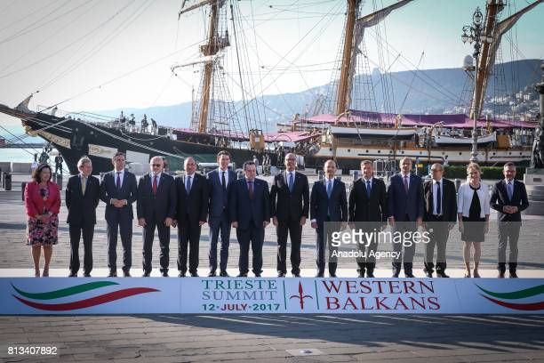 Countries' foreign ministers pose for a family photo during the Western Balkans summit in Piazza Unita d'Italia in Trieste northern Italy on July 12...
