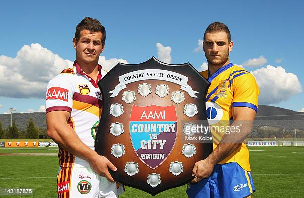Country captain Greg Bird and City captain Robbie Farah pose with shield during a City v Country Origin Captains Call at Glen Willow Sports Complex...