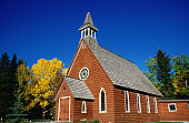 Country church in autumn.