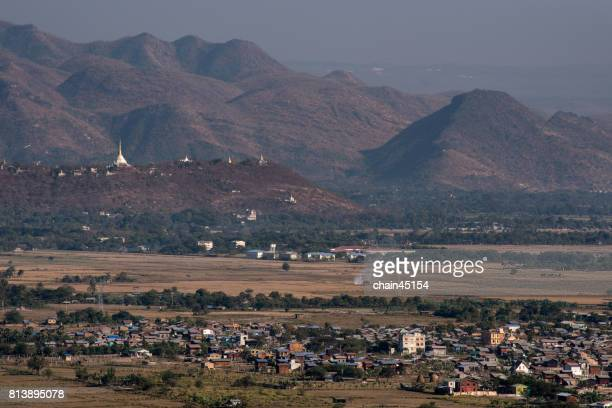 Country city in the Mountain hill at Mandalay in Myanmar or Burma.