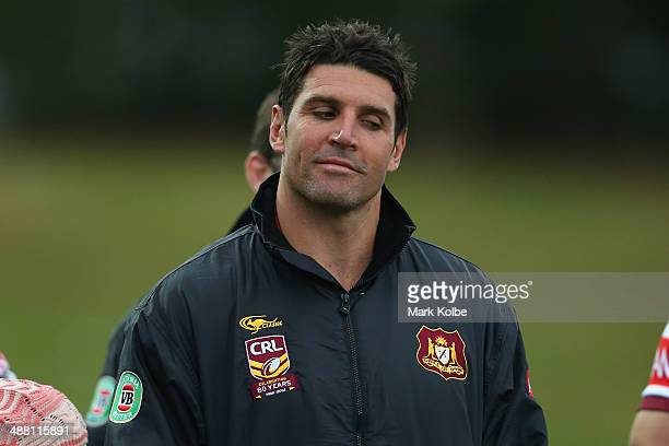 Country coach Trent Barrett looks on during the Origin match between City and Country at Caltex Park on May 4 2014 in Dubbo Australia