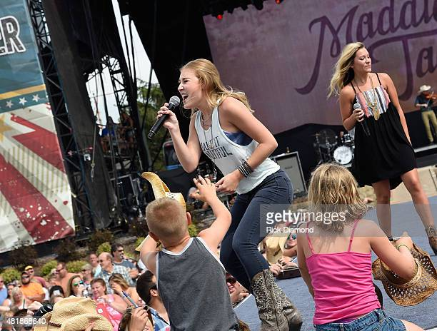 Country Duo Maddie Tae L/R Maddie Marlow and Tae Dye perform at Country Thunder In Twin Lakes Wisconsin Day 2 on July 24 2015 in Twin Lakes Wisconsin