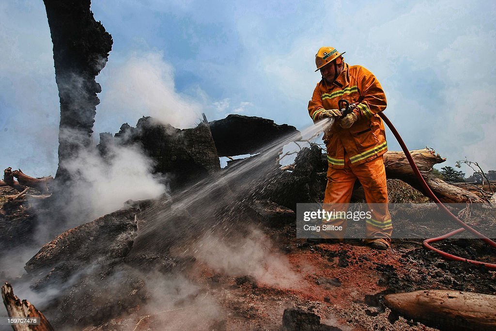 Country Fire Authority member Snooze Hammill puts out spot fires near the town of Seaton on January 19, 2013 in Australia. Bushfires in Victoria have claimed one life and destroyed several houses as record heat continues to create extreme fire conditions throughout Australia.