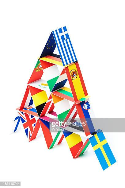 Country Flags Economic House of Cards for European Debt Crisis
