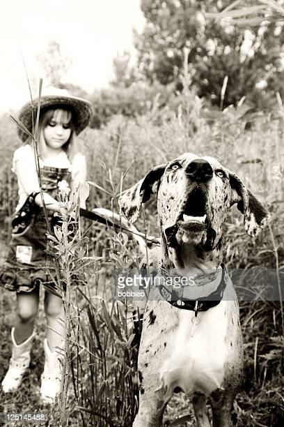 Country girl and her dog