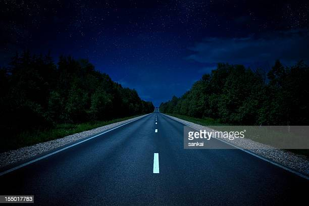 Country highway in the night