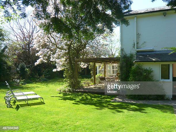 Country house garden in springtime, New Forest National Park, Hampshire, England, UK
