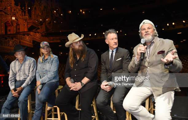 Country Icon George Strait Musicians Miranda Lambert Chris Stapleton Lyle Lovett and Robert Earl Keen speak onstage during a Press Conference held...