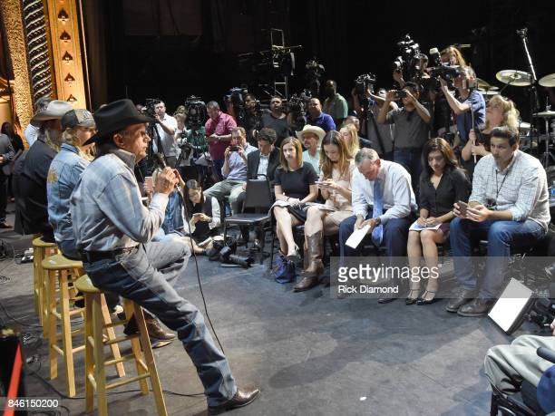 Country Icon George Strait speaks onstage during a Press Conference held prior to Hand In Hand Texas Benefit Concert at Majestic Theatre on September...