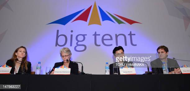 Country manager of Twitter Japan James Kondo answers questions during a press conference for an international conference in disaster preparedness and...
