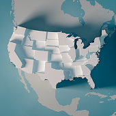3D Render of a Country Map of the USA showing the States separately, Graph height dependent from the population numbers. Made with Natural Earth.  https://www.naturalearthdata.com/downloads/10m-cultur