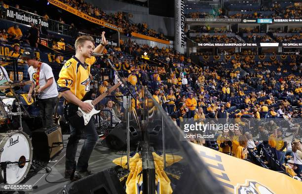 Country music artist Hunter Hayes performs on the Ford Band Stage during the first intermission of Game Four of the Western Conference Second Round...