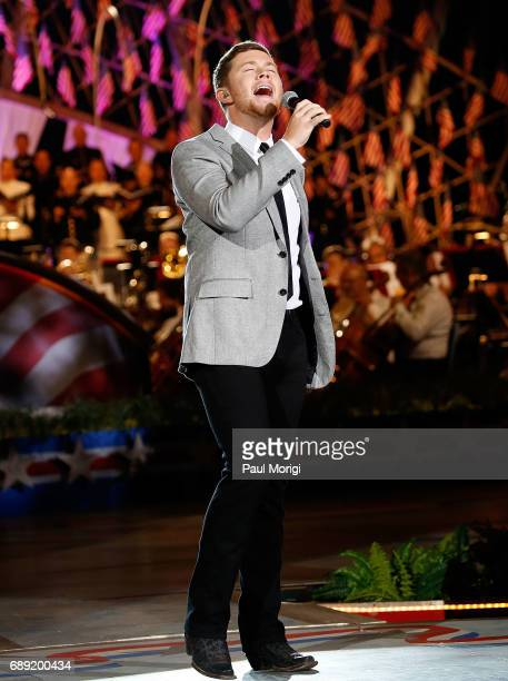Country music artist Scotty McCreery rehearses for PBS' 2017 National Memorial Day Concert at US Capitol West Lawn on May 27 2017 in Washington DC