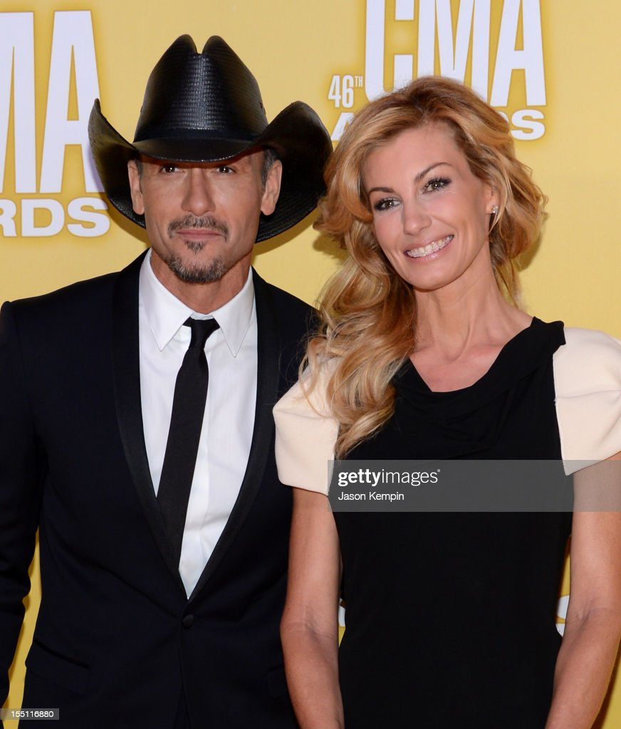 Country music artists <a gi-track='captionPersonalityLinkClicked' href=/galleries/search?phrase=Tim+McGraw&family=editorial&specificpeople=202845 ng-click='$event.stopPropagation()'>Tim McGraw</a> and <a gi-track='captionPersonalityLinkClicked' href=/galleries/search?phrase=Faith+Hill&family=editorial&specificpeople=175933 ng-click='$event.stopPropagation()'>Faith Hill</a> attend the 46th annual CMA Awards at the Bridgestone Arena on November 1, 2012 in Nashville, Tennessee.