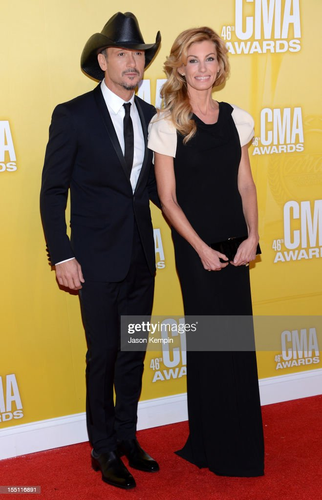 Country music artists Tim McGraw and Faith Hill attend the 46th annual CMA Awards at the Bridgestone Arena on November 1, 2012 in Nashville, Tennessee.
