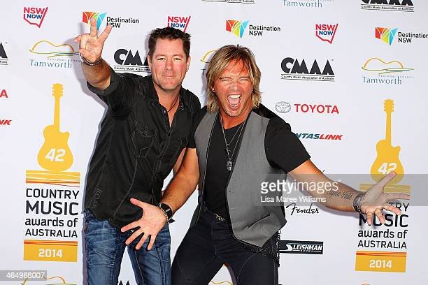 Country music duo McAlister Kemp arrive at the 42nd Country Music Awards Of Australia on January 25 2014 in Tamworth Australia The Tamworth Country...