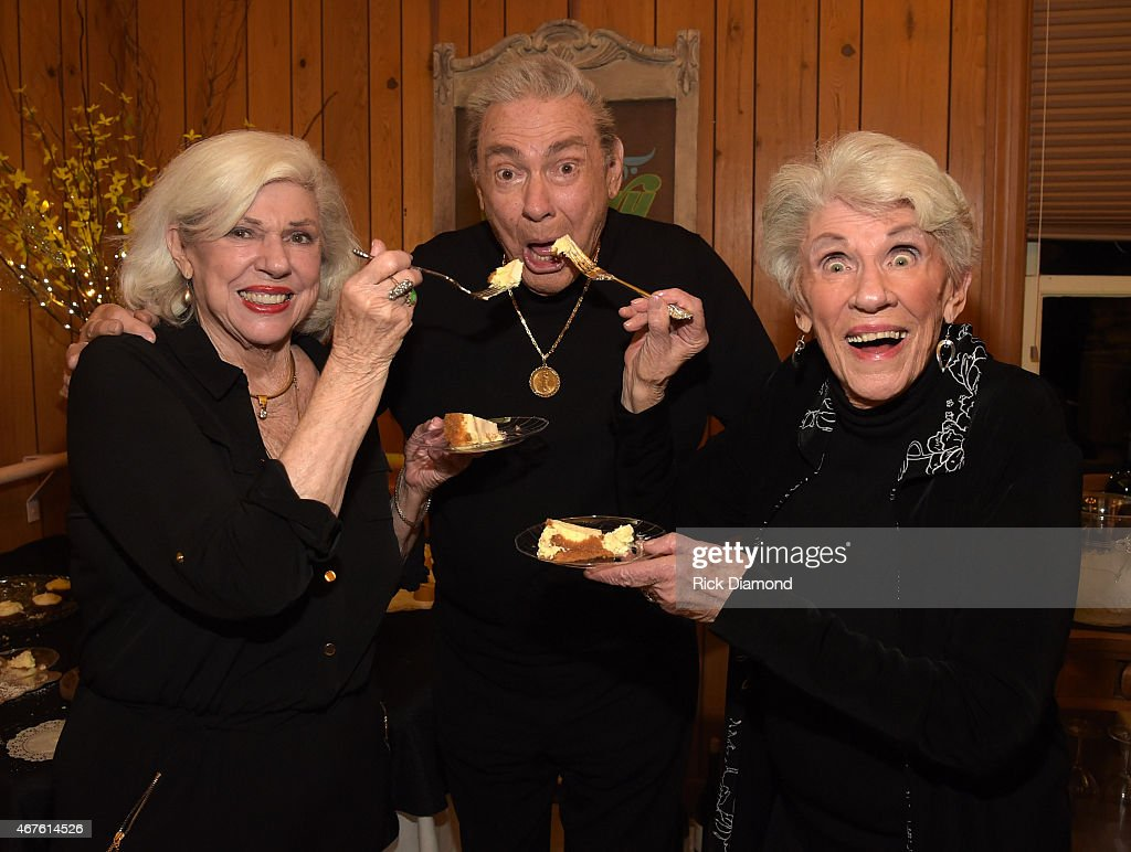 Country Music Hall of Fame Inductees Bonnie Brown, Jim Ed Brown and Maxine Brown enjoy Jim Ed Browns homemade cheesecake during Country Music Hall of Fame inducees Jim Ed Brown and the Browns dinner party for friends and family on March 25, 2015 in Nashville, Tennessee.