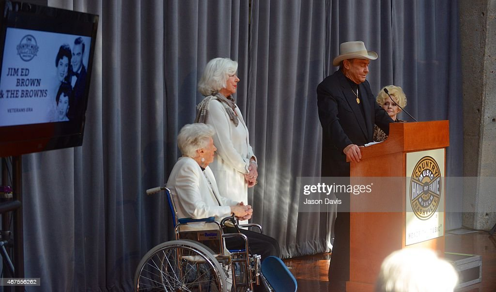 Country Music Hall of Fame inductees Maxine Brown, Bonnie Brown and Jim Ed Brown of Jim Ed Brown and The Browns speaking during the 2015 Inductee announcement at Country Music Hall of Fame and Museum on March 25, 2015 in Nashville, Tennessee.