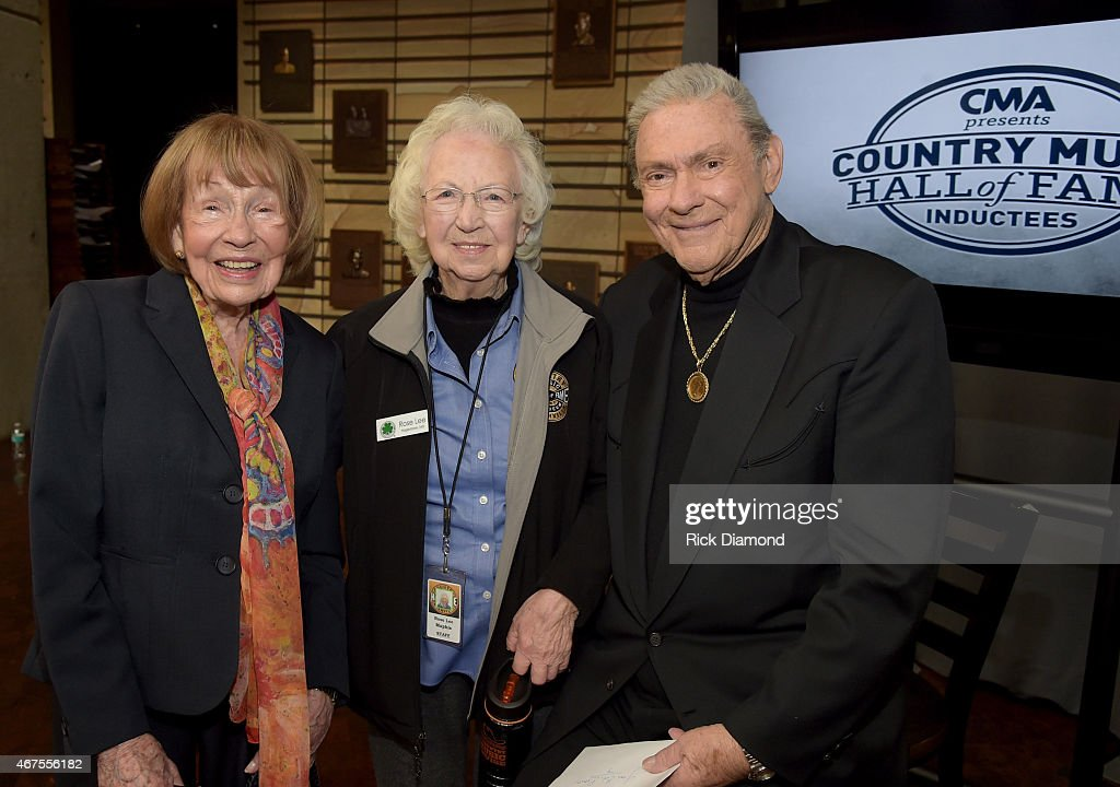 Country Music Hall of Fame member Jo Walker-Meador, Country Music Hall of Fame and Museum Greeter, 93 year old Rose Lee and Country Music Hall of Fame inductee Jim Ed Brown during the CMA announcement that JIM ED BROWN AND THE BROWNS, GRADY MARTIN, AND THE OAK RIDGE BOYS are the NEWEST MEMBERS OF THE COUNTRY MUSIC HALL OF FAME at Country Music Hall of Fame and Museum on March 25, 2015 in Nashville, Tennessee.
