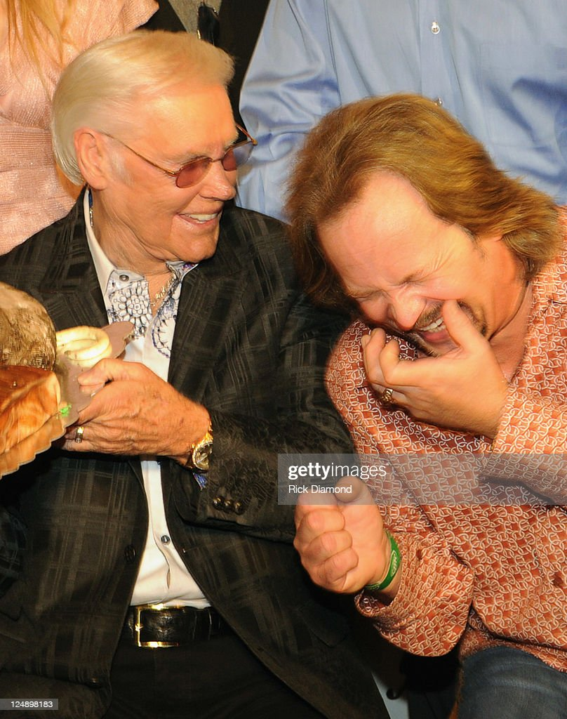 Country Music Legend George Jones and Singer/Songwriter Travis Tritt celebrate at his George Jones' 80th birthday party at Rippy's Bar Grill on...