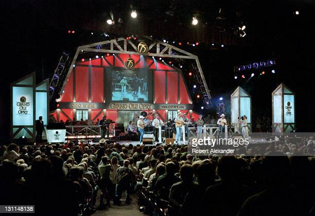 Country music singer Alan Jackson performs at the Grand Ole Opry in Nashville Tennessee in 2000 during the Opry's 75th anniversary