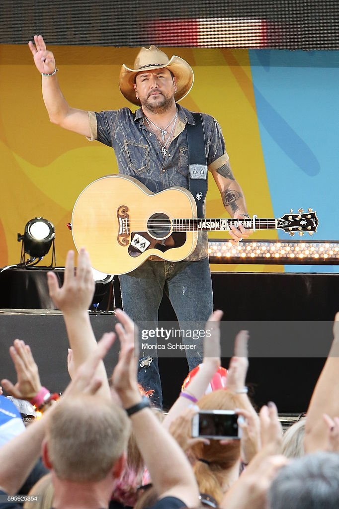 Country music singer Jason Aldean performs on ABC's 'Good Morning America' at SummerStage at Rumsey Playfield Central Park on August 26 2016 in New...