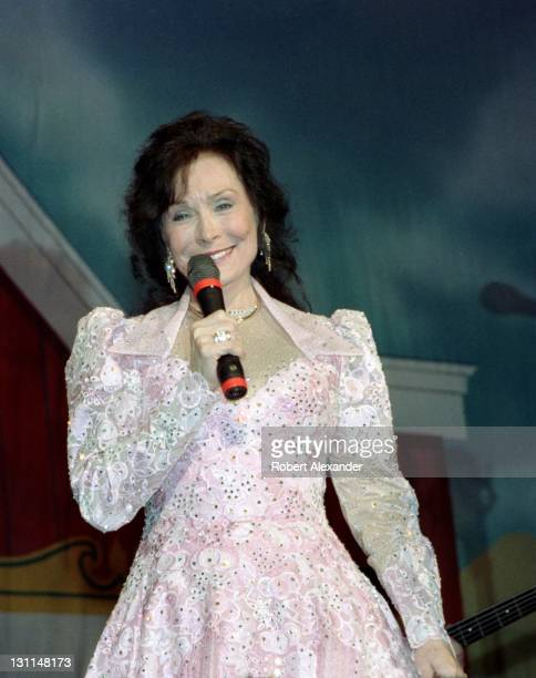 Country music singer Loretta Lynn performs at a Grand Ole Opry show in Nashville Tennessee The live program was presented at the historic Ryman...