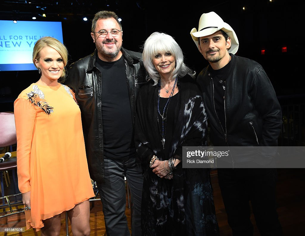 Country music singers Carrie Underwood Vince Gill Emmylou Harris and Brad Paisley attend The Country Music Hall Of Fame Museum All For The Hall New...