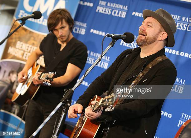 Country music singers Charlie Worsham and Kristian Bush perform at the National Press Club on June 22 2016 in Washington DC