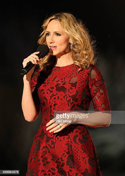 Country music star Chely Wright performs at the 2014 National Christmas Tree Lighting Ceremony at President's Park on December 4 2014 in Washington DC
