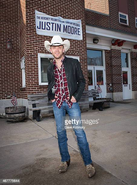 Country music star Justin Moore visits the Hershey Volunteer Fire Company to drop off tickets for his show that night courtesy of Crown Royal on...