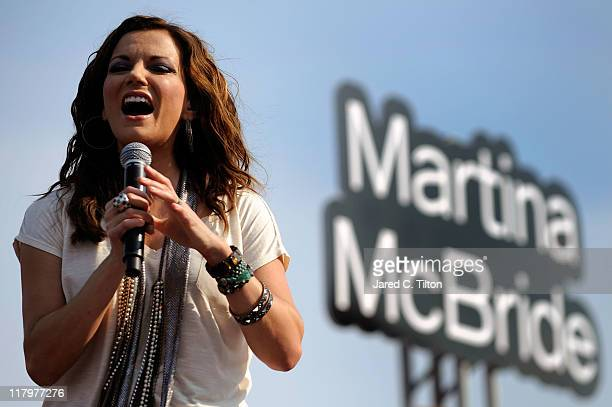 Country Music Superstar Martina McBride performs for fans prior to the NASCAR Sprint Cup Series Coke ZERO 400 Powered by CocaCola at Daytona...