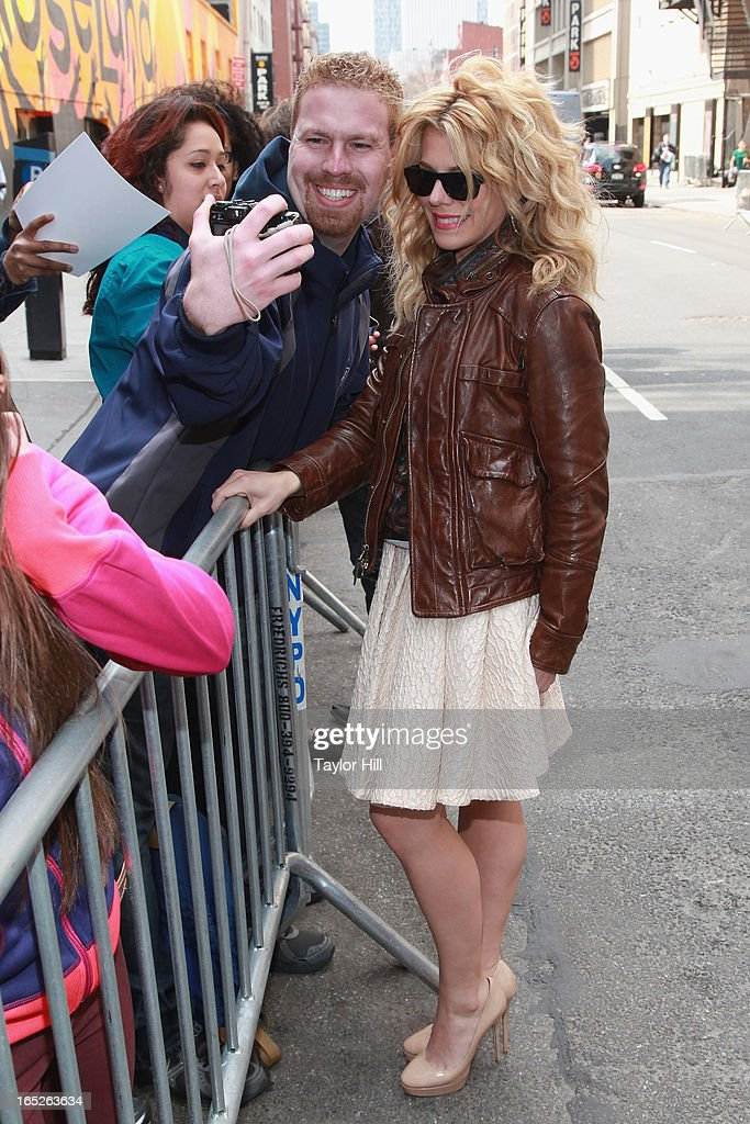 Country musician <a gi-track='captionPersonalityLinkClicked' href=/galleries/search?phrase=Kimberly+Perry&family=editorial&specificpeople=6718325 ng-click='$event.stopPropagation()'>Kimberly Perry</a> arrives at 'Late Show with David Letterman' at Ed Sullivan Theater on April 1, 2013 in New York City.