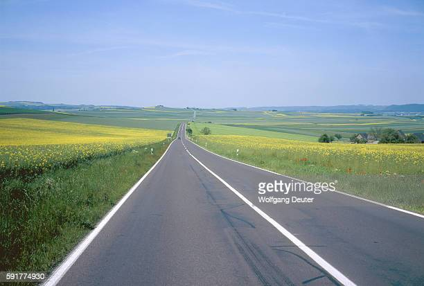 Country road and agricultural landscape in the Eifel, Germany