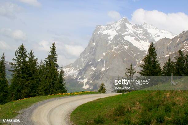 Country road mountain pass and Fary tale landscape: above idyllic Grindelwald alpine valley and meadows, dramatic swiss snowcapped Wetterhorn alps, idyllic countryside, Bernese Oberland,Swiss Alps, Switzerland