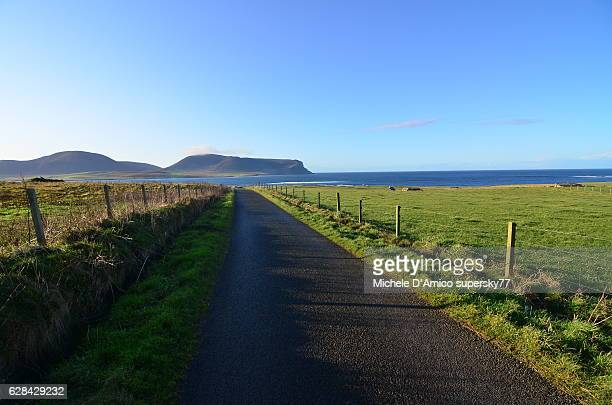 Country road on the Orkney Islands