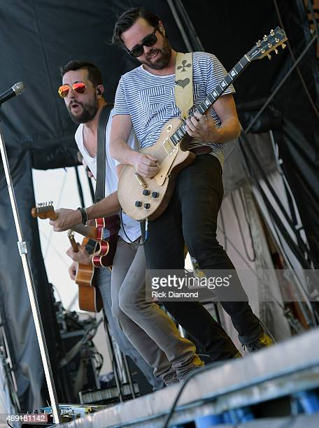Country Rock Group Old Dominion members Matthew Ramsey and Brad Tursi perform at Country Thunder USA Day 1 on April 9 2015 in Florence Arizona