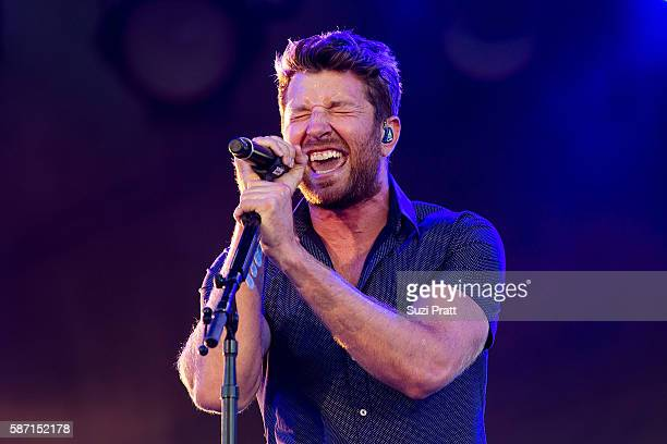 Country singer Brett Eldredge performs during the second weekend of the Watershed Music Festival at Gorge Amphitheatre on August 7 2016 in George...