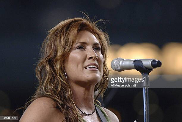 Country singer Jo Dee Messina performs after the Arizona Diamondbacks host the Florida Marlins August 13 2006 in Phoenix The Marlins won 6 5