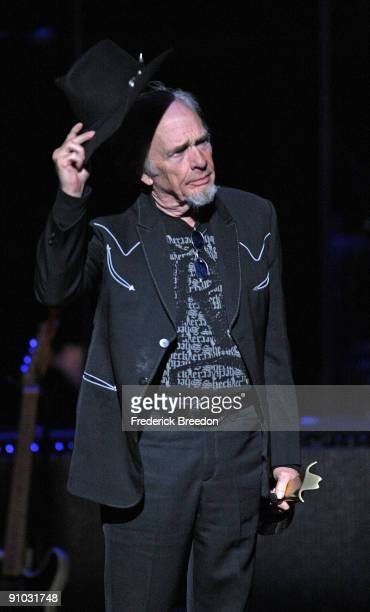 Country singer Merle Haggard receives the Poet's Award at the second annual ACM Honors at the Schermerhorn Symphony Center on September 22 2009 in...
