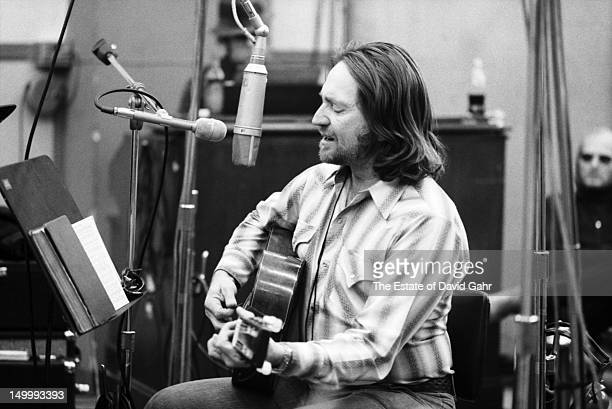 Country singer songwriter Willie Nelson in a recording session in February 1973 at the Atlantic Records studio in New York City New York