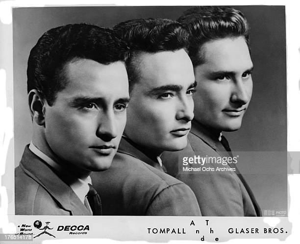Country singers Tompall The Glaser Brothers pose for a Decca Records publicity still circa 1965 in Nashville Tennessee