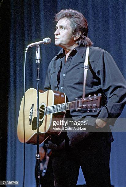 Country singer/songwriter Johnny Cash performs onstage in 1973