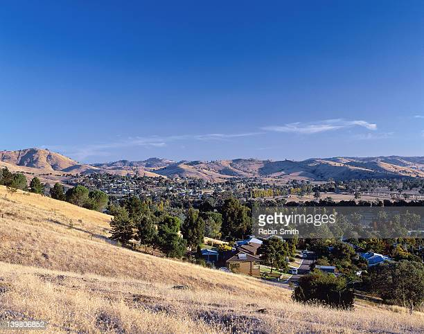 Country town in rural landscape, Gundagai, NSW, Australia