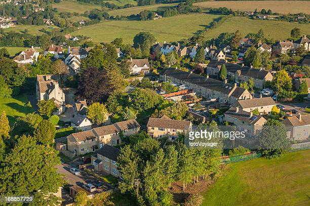 Country village homes summer fields aerial photo
