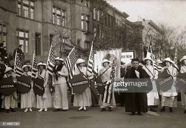 Country wide suffragette meeting in New York Dr Anna Shaw is leading delegates from other states in Fifth Avenue parade