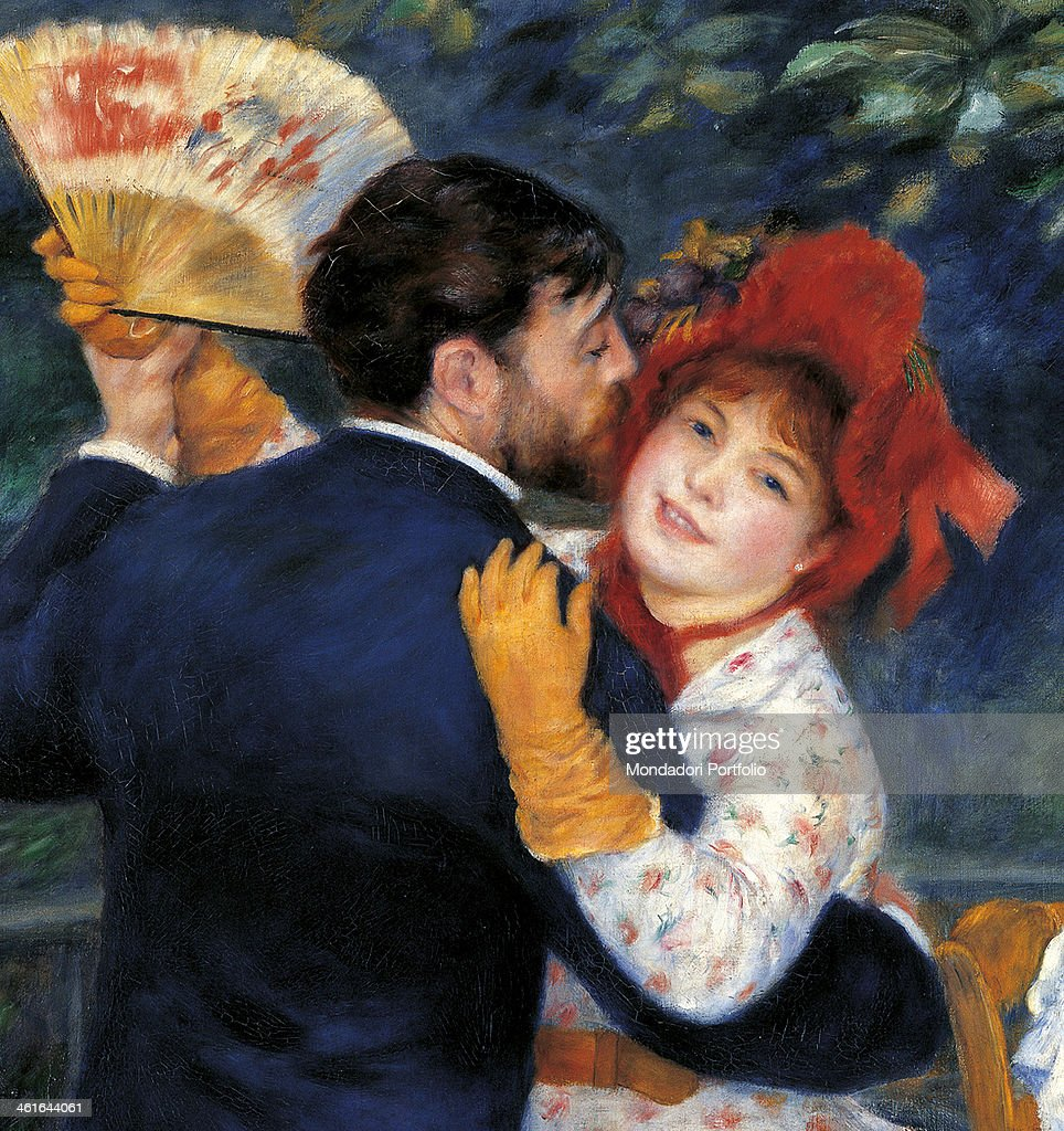 Countryside Dancing, by Pierre-<a gi-track='captionPersonalityLinkClicked' href=/galleries/search?phrase=Auguste+Renoir&family=editorial&specificpeople=117768 ng-click='$event.stopPropagation()'>Auguste Renoir</a>, 1883, 19th Century, oil on canvas, 180 x 90 cm. France, Paris, Musée d'Orsay. Detail. Detail of the bust of the two dancers.