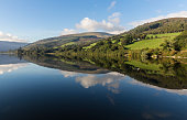 An image of beautiful Welsh countryside shot at Talybont-On-Usk reservoir, Wales, UK