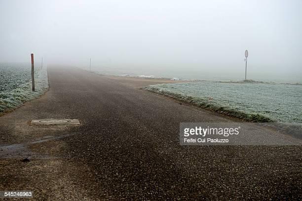 Countryside landscape in a heavy fog near Bern